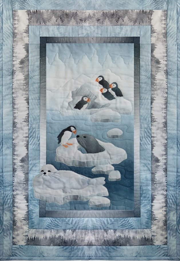 Puffins and Seals U Cut Applique Quilt Kit