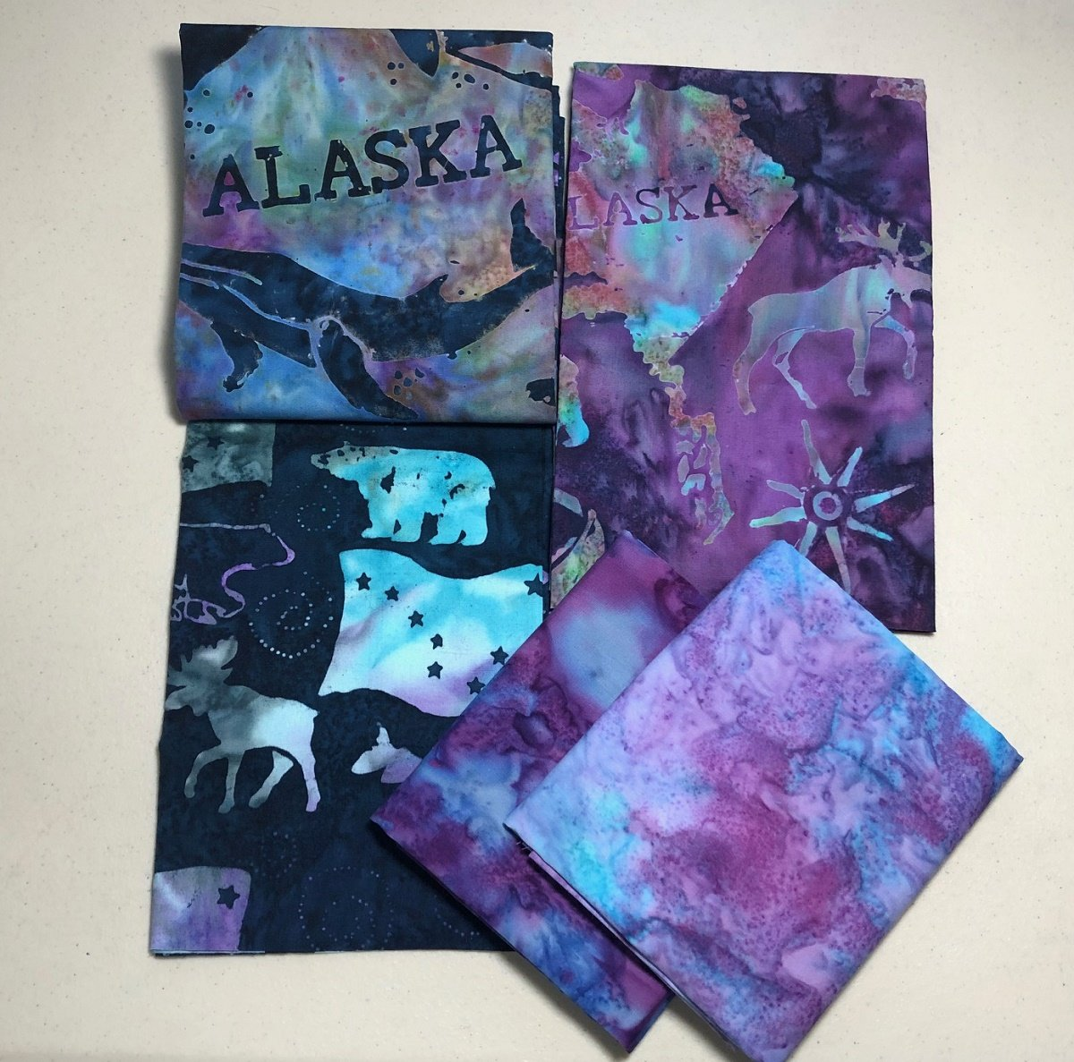 Alaska Day 5 Pack Purple Navy Half Yard Batik