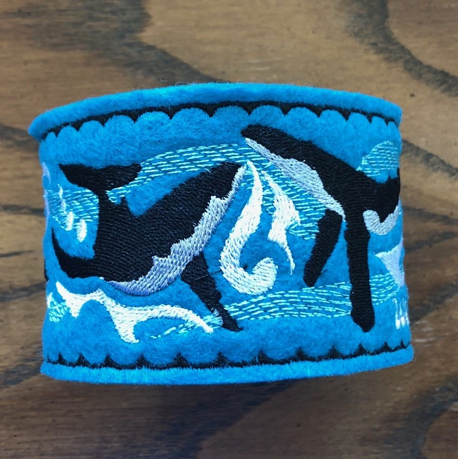 Embroidered Pincushion Whales