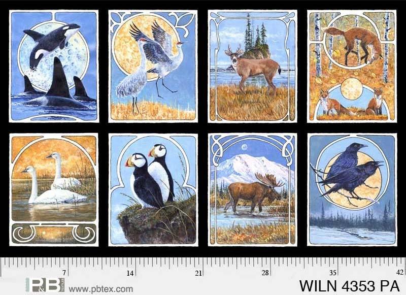 Wildlife Nouveau Blocks Panel P82  PB 4353 PA