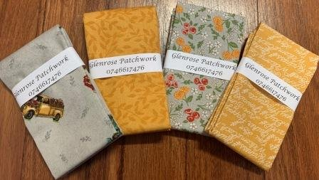 Cultivate Kindness FQ Pack x 4 - Grey&Yellow