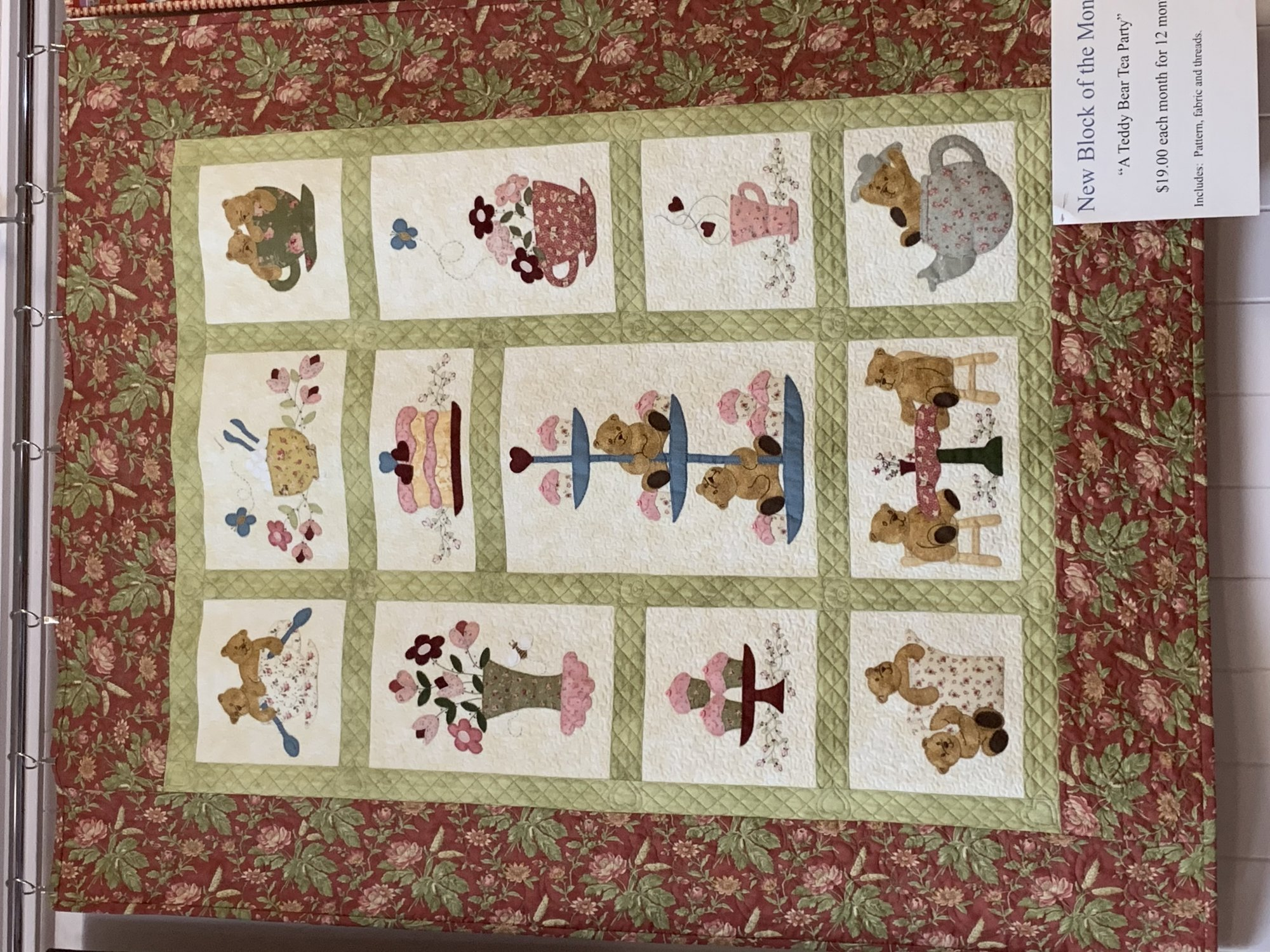 Teddy Bear Tea Party - Block of the Month