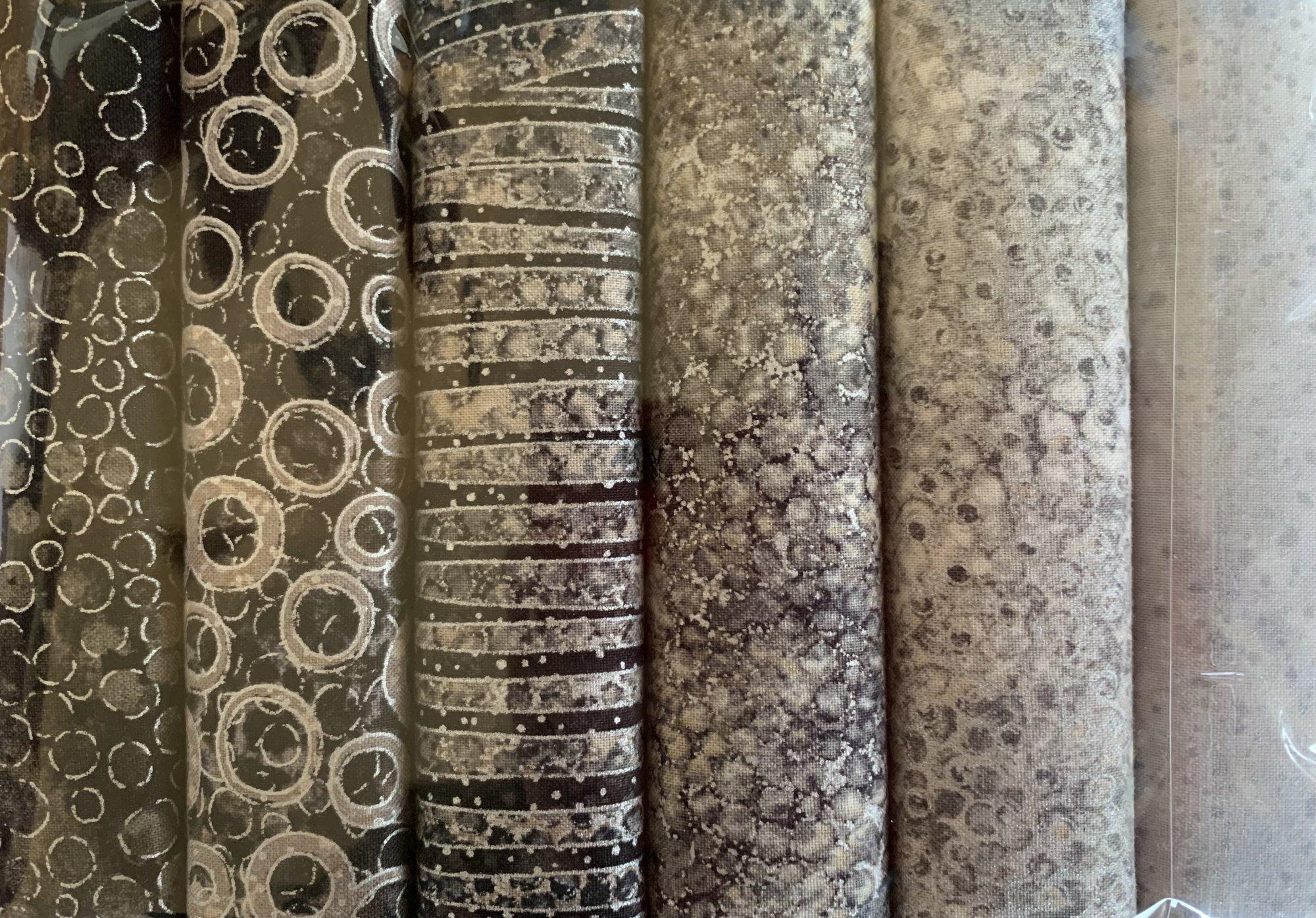 Fat Quarter Pack - 6 pieces - Shimmer - Grey/Black
