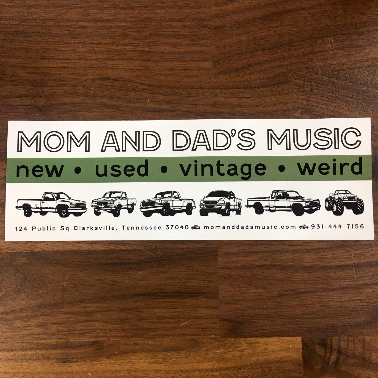 Mom and Dad's Music Trucks 9x3 Bumper Sticker