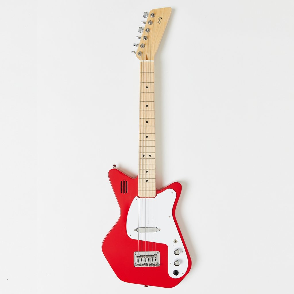 Loog Pro VI Electric 6-String Red Beginner Guitar w/ Built In Amp (Ages 12+)