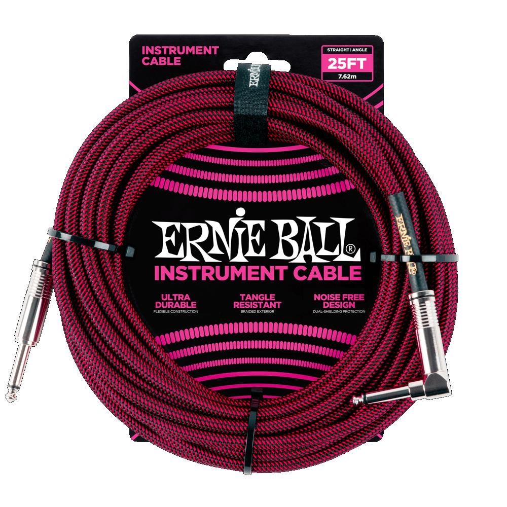 Ernie Ball 25' Black/Red Braided Straight/Angle Instrument Cable P06062