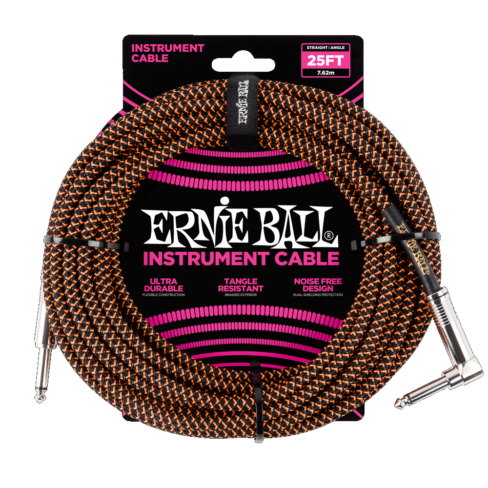 Ernie Ball 25' Black/Orange Braided Straight/Angle Instrument Cable P06064