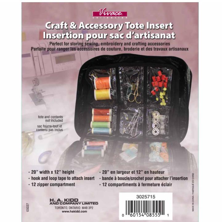 Vivace Craft Tote Insert Pages Black 12-Pocket