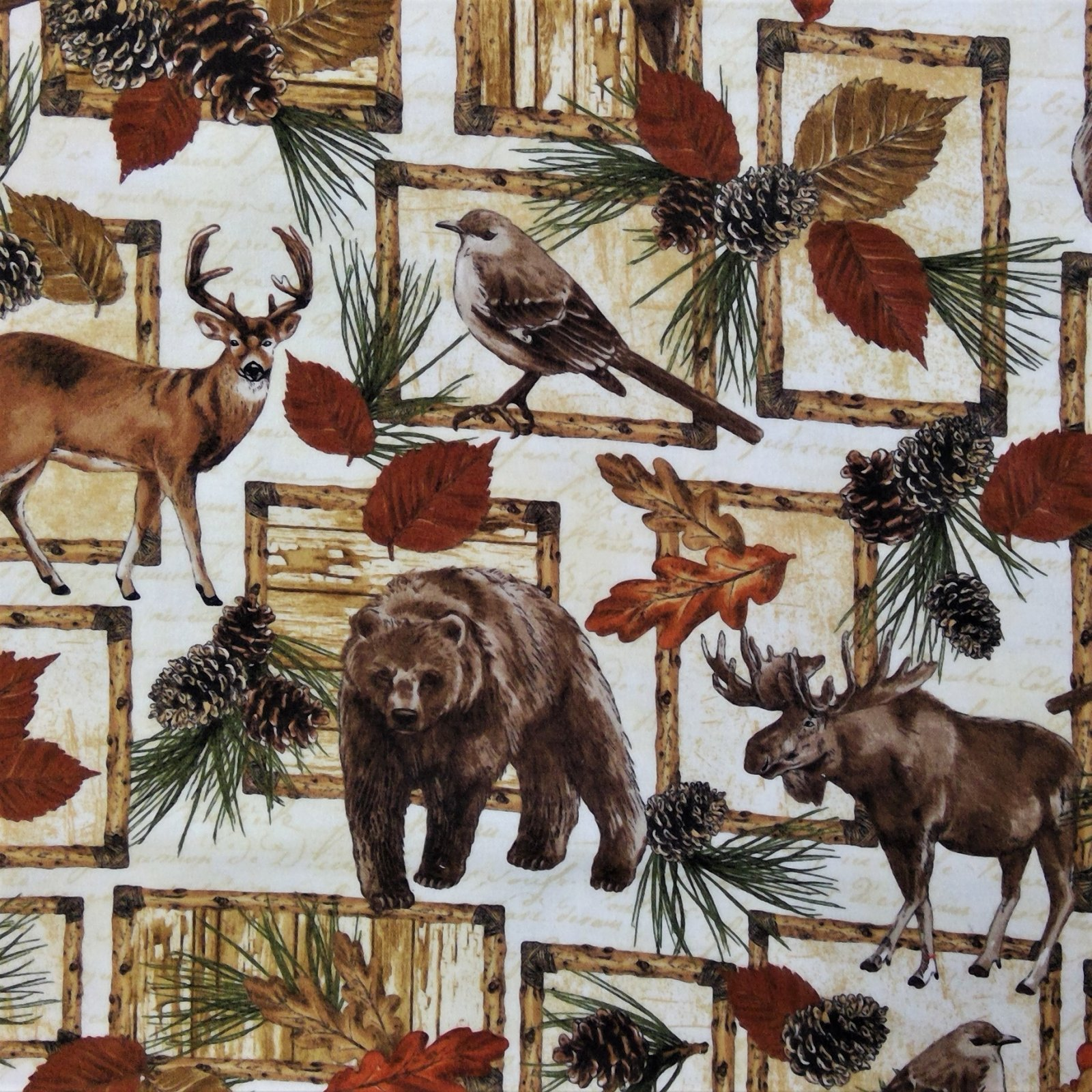 Flannel Print 100% Cotton Cabin Creatures