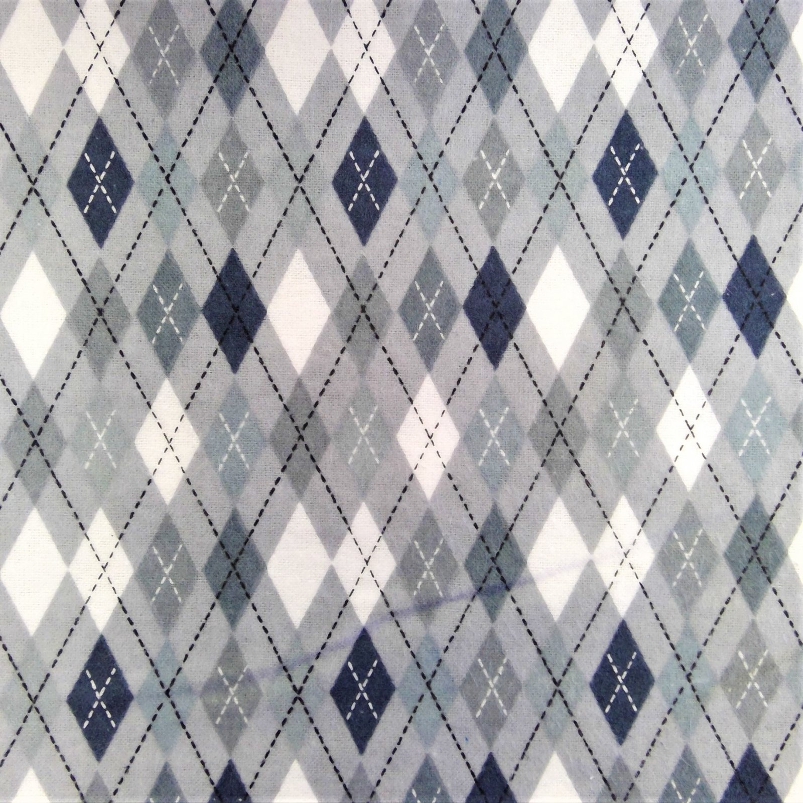 Flannel Print 100% Cotton Grey Diamonds
