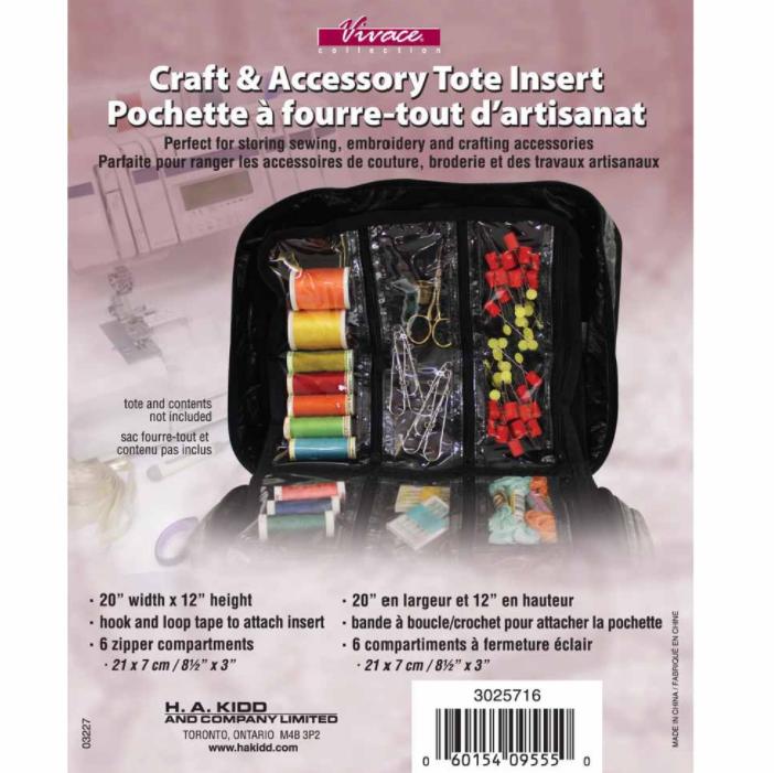 Vivace Craft Tote Insert Pages Black 6-Pocket