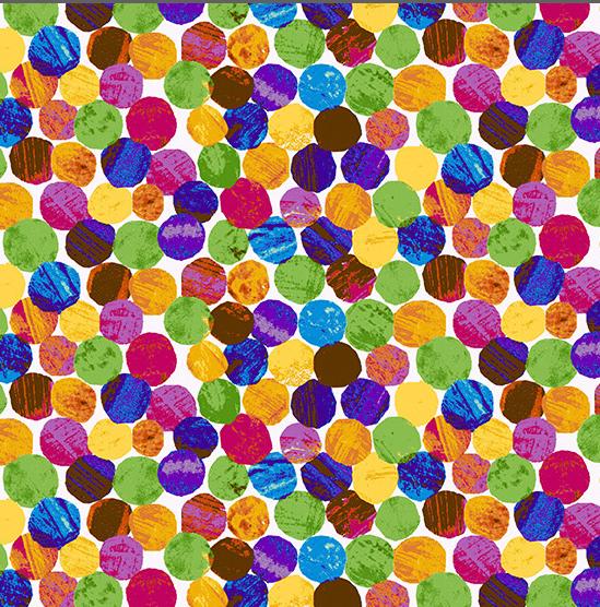 Broadcloth Print 100% Cotton The Very Hungry Caterpillar,  Multi Caterpillar Spots