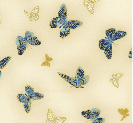 Broadcloth Print 100% Cotton Butterflies Ivory