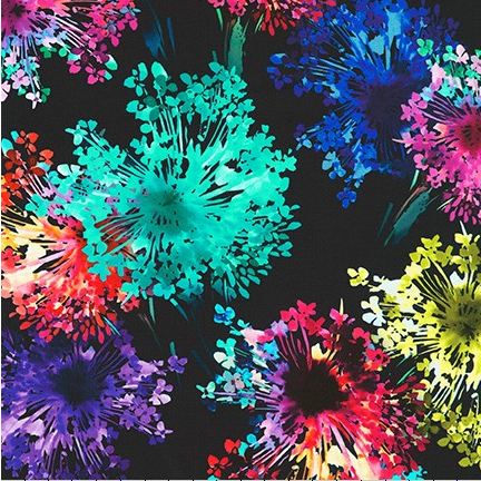 Broadcloth Print 100% Cotton Bright Side Midnight
