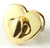 Bag Closure Turn Clasp Heart Shaped Gold