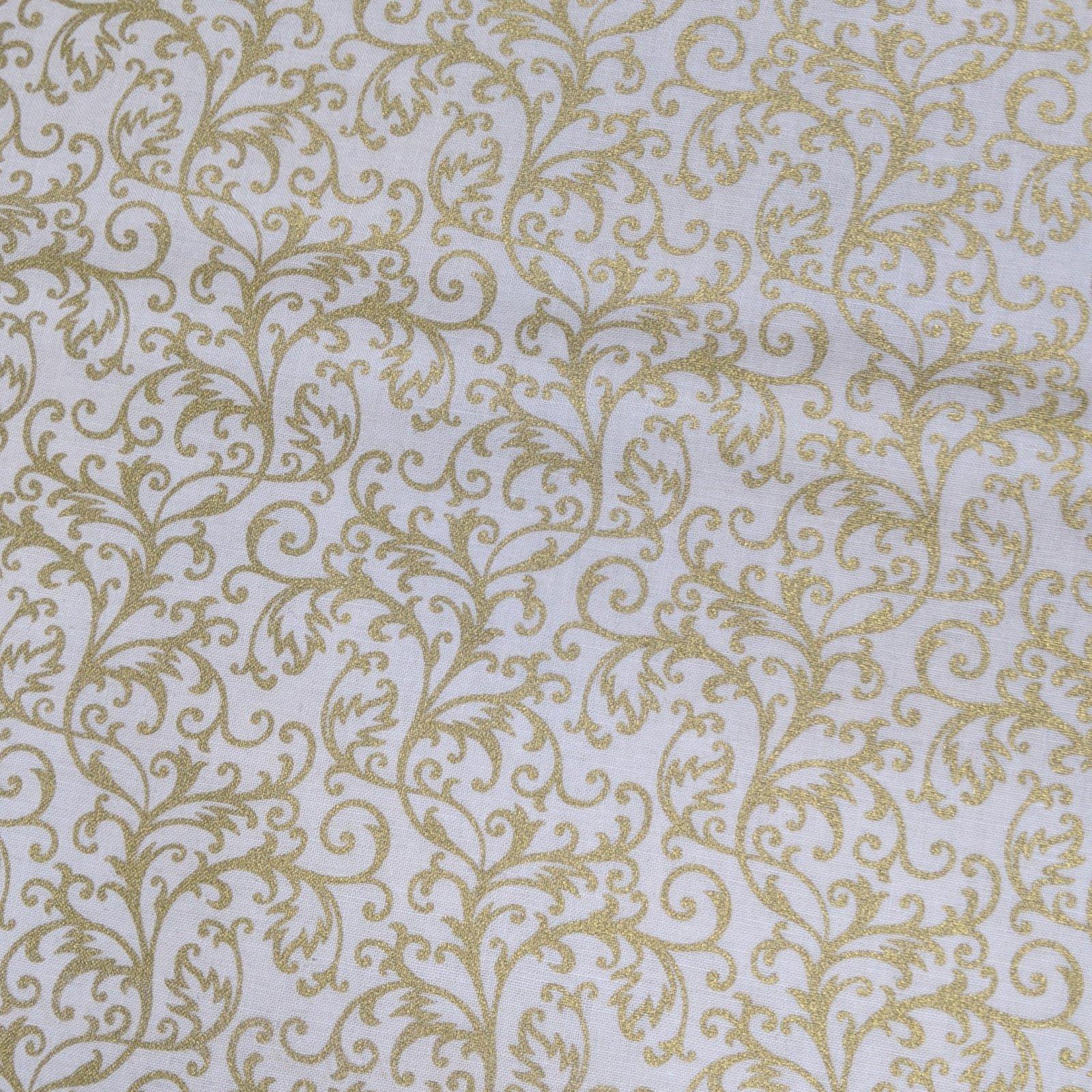 Broadcloth Print 100% Cotton Gold Filigree