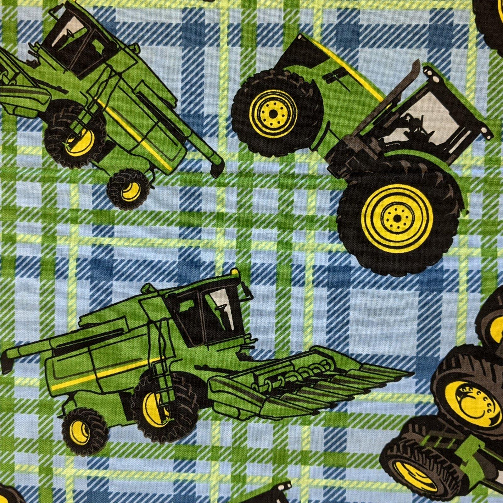 Broadcloth Print 100% Cotton John Deere Tractors on Blue Plaid