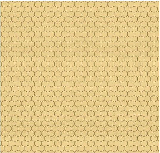 Broadcloth Print 100% Cotton A Bee's Life Honeycomb Honey