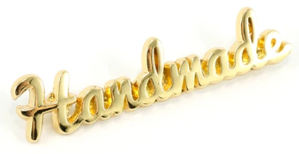 Label Handmade Script Gold