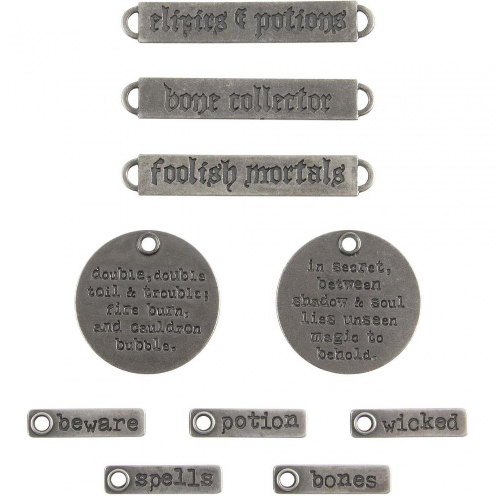 Tim Holtz Idea-ology - Metal Adornments Antique Nickel Halloween Words