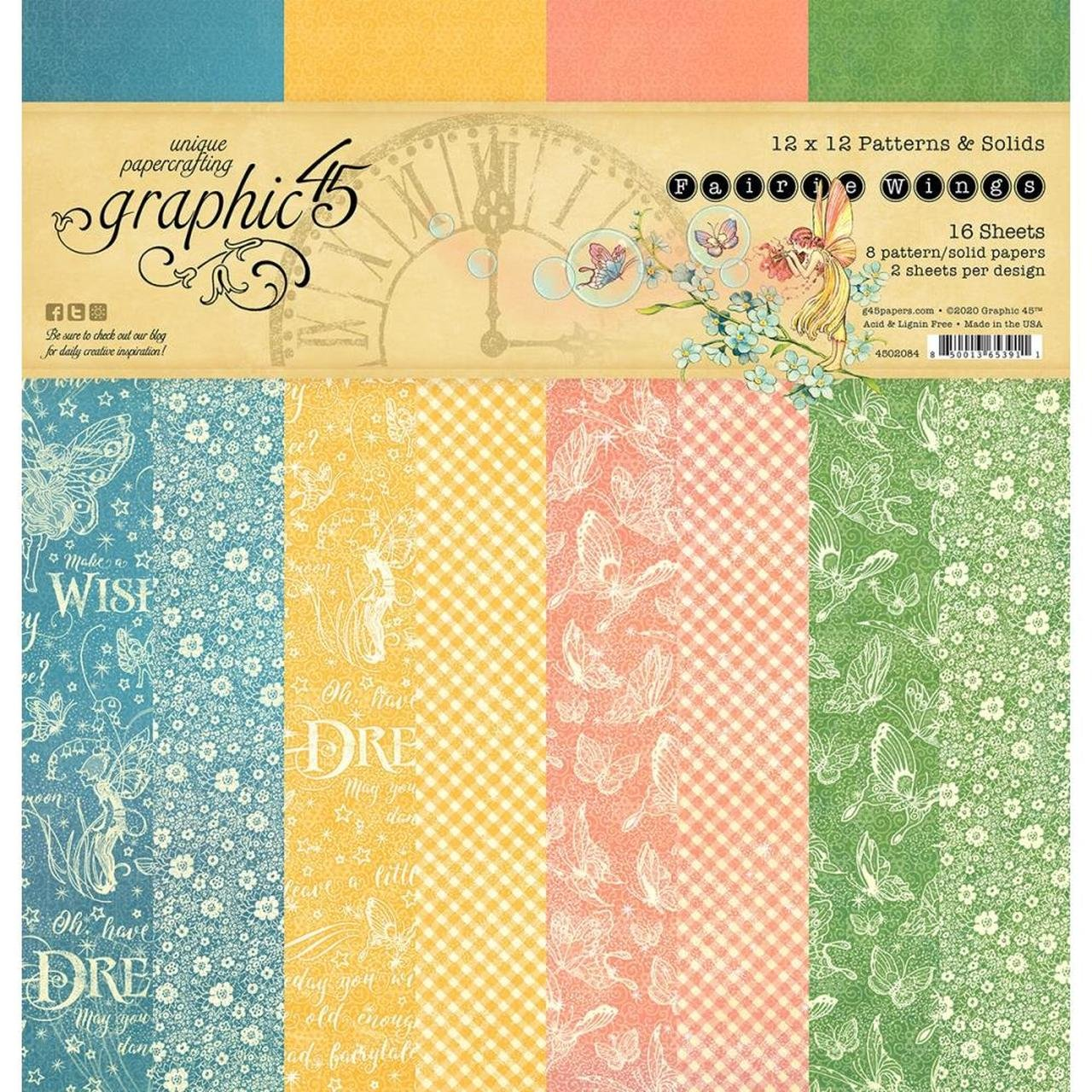 Graphic 45 - Fairie Wings 12x12 Patterns and Solids Paper Pad