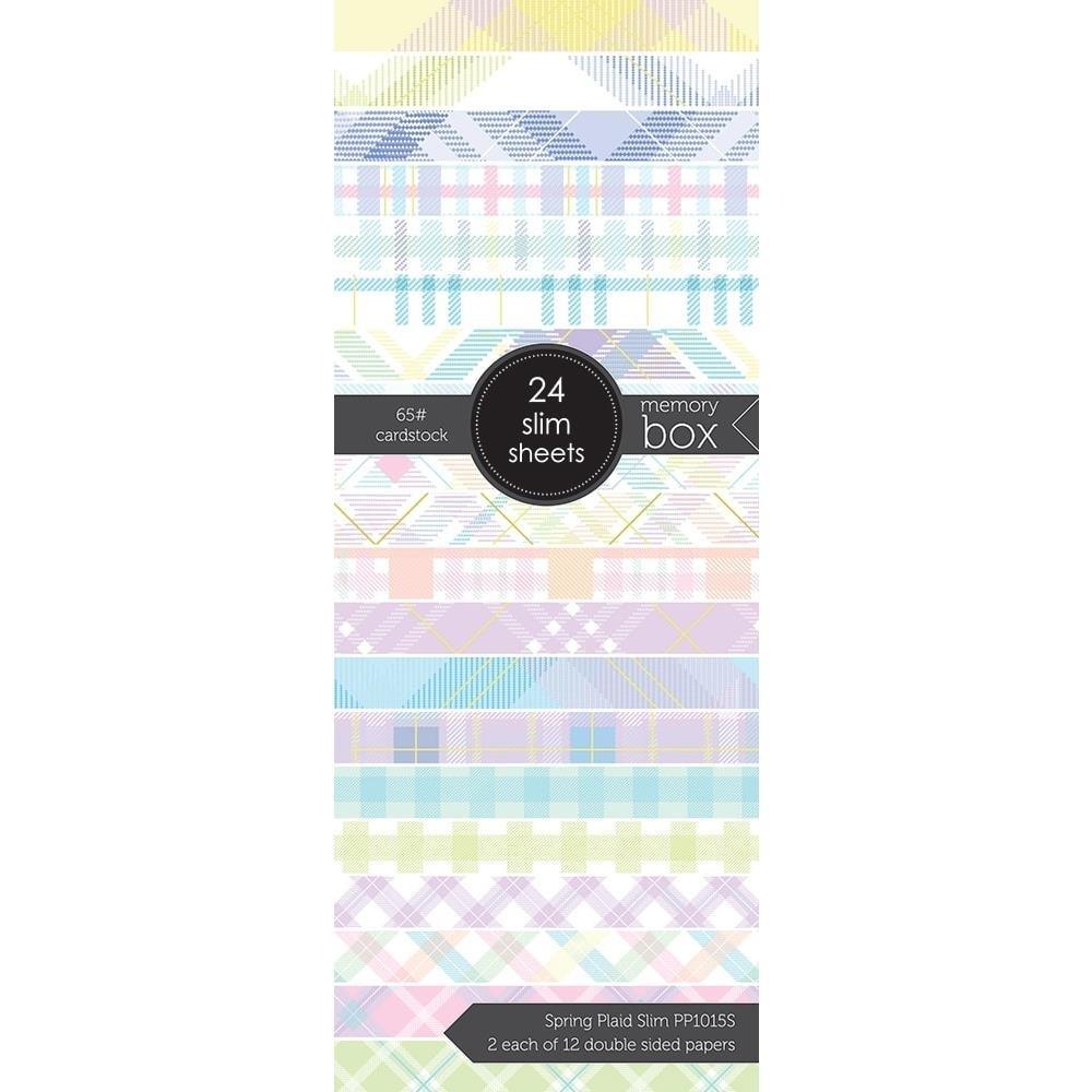 Memory Box - Spring Plaid Slim Paper Pad with Gold Foil Details (3.5x8.5)