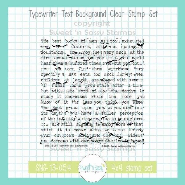 Sweet 'n Sassy - Typewriter Text BG Stamp Set
