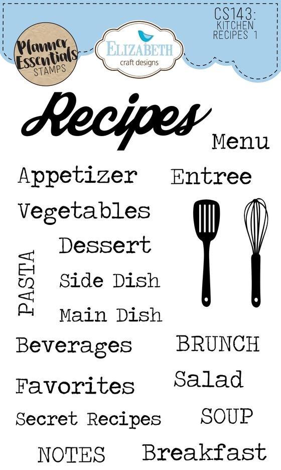 Elizabeth Crafts - Planner Essential Stamps Kitchen Recipes 1