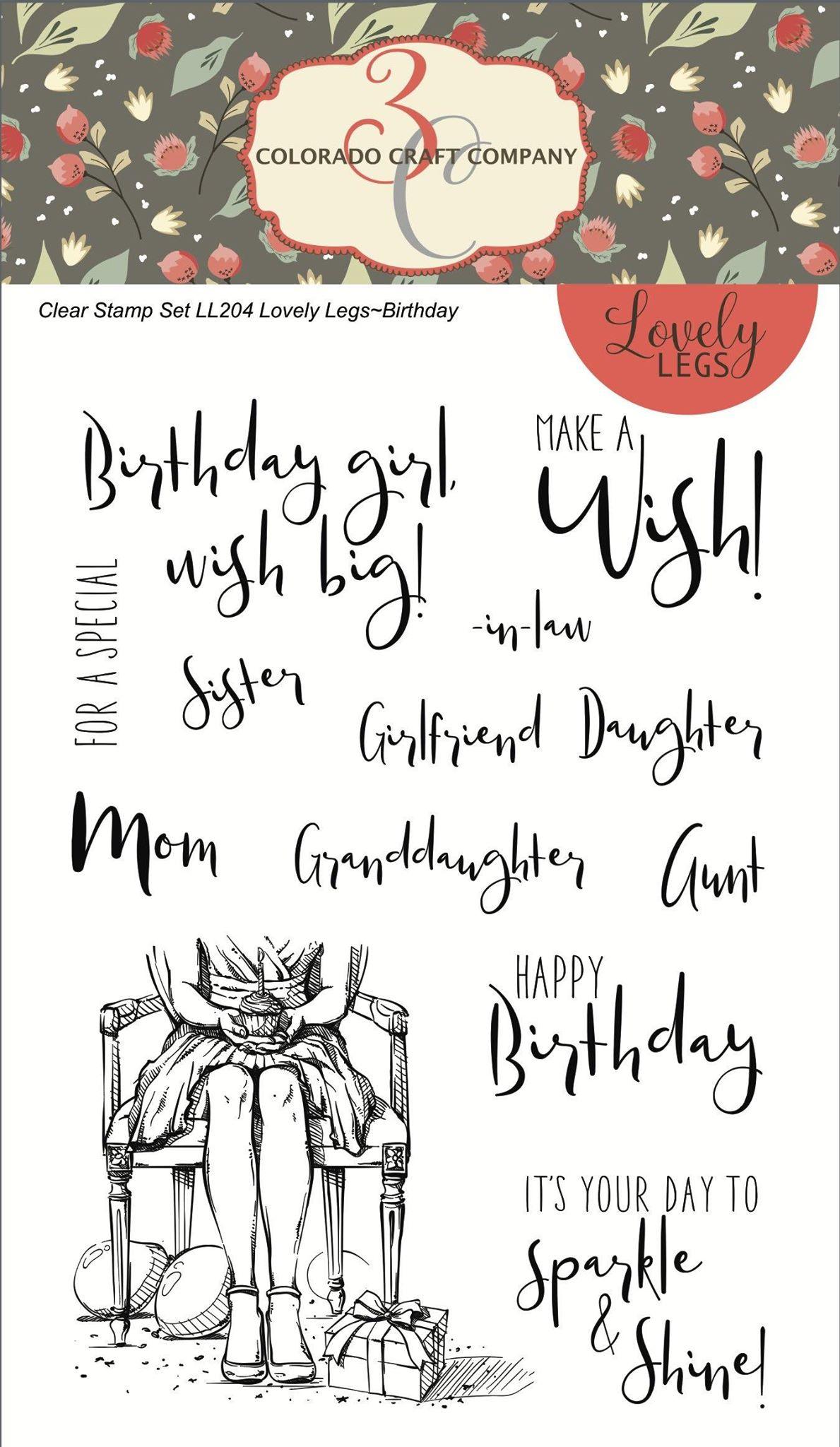 Colorado Craft Co. - Lovely Legs Happy Birthday Stamp Set