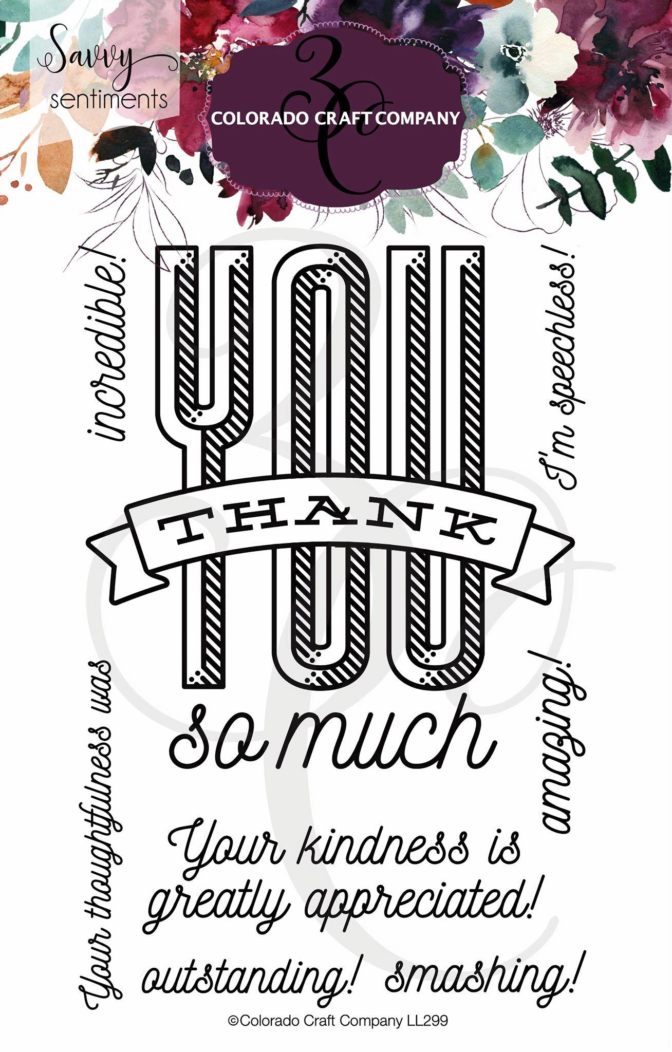 Colorado Craft Co. - Savvy Sentiments Thank You Stamp Set
