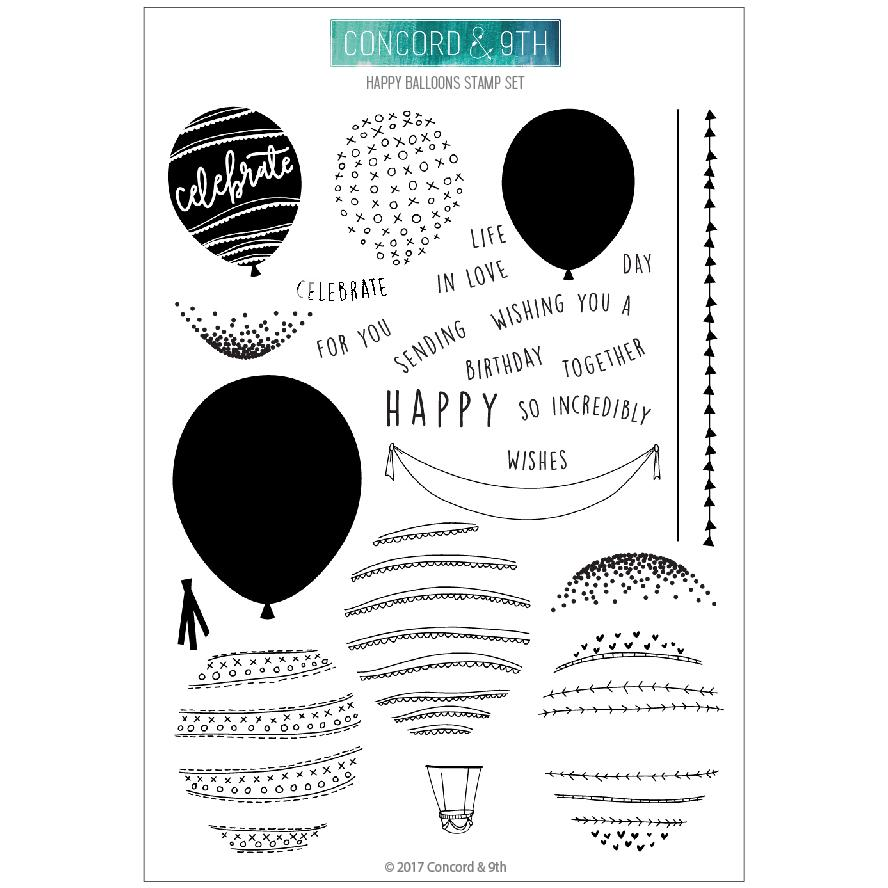 Concord & 9th - Happy Balloons Stamp & Die Combo Set
