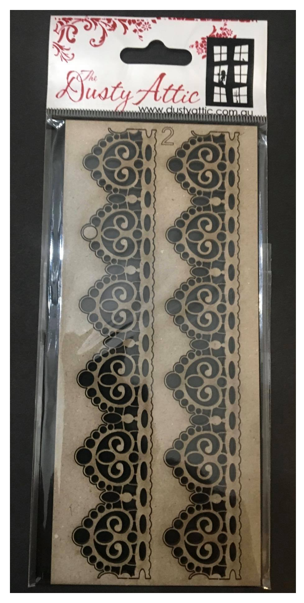 Dusty Attic Chipboard - Lace Border #2 Small