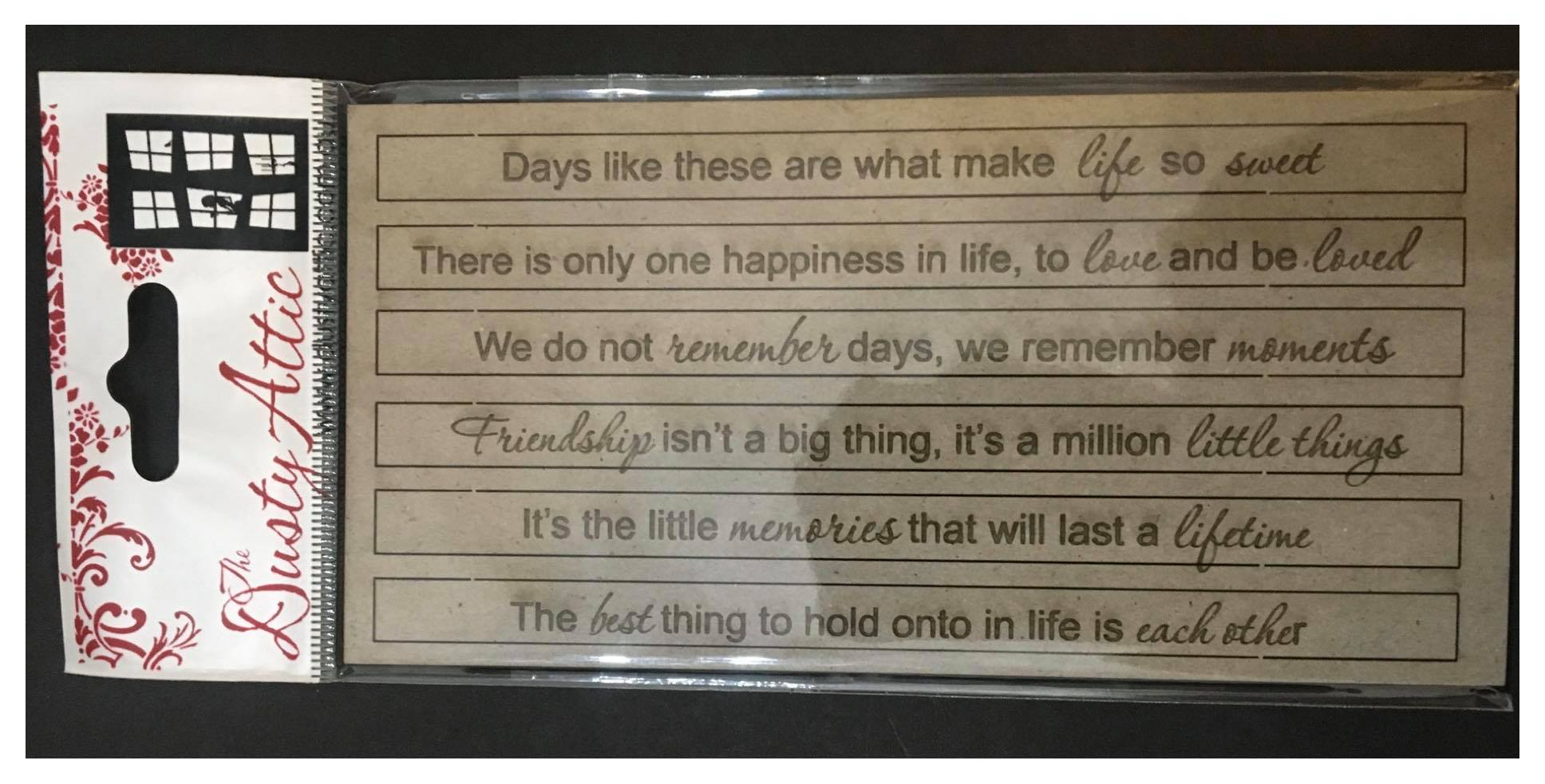 Dusty Attic Chipboard - Quoted Sentiments #1