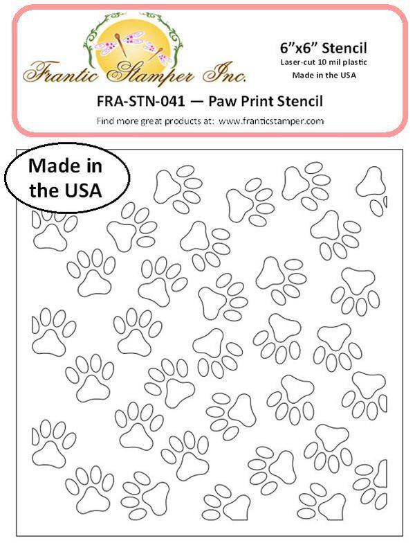 Frantic Stamper - 6x6 Paw Prints Stencil