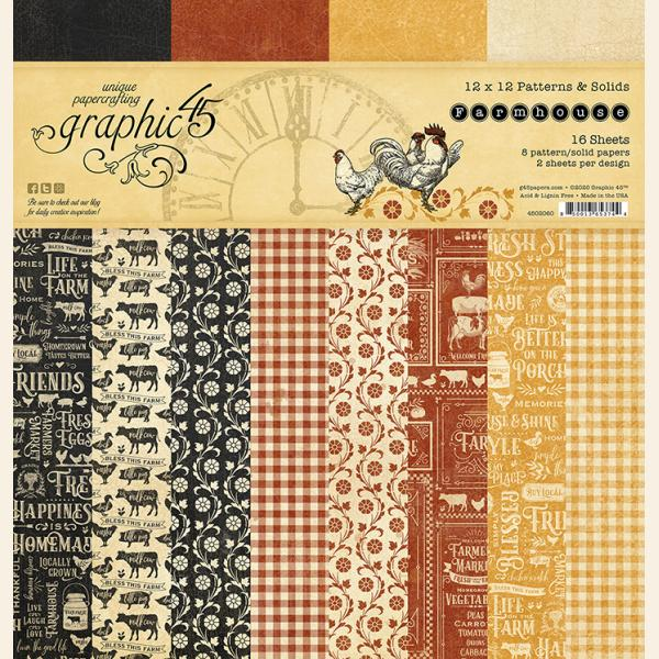 Graphic 45 - Farmhouse 12x12 Patterns and Solids Pad