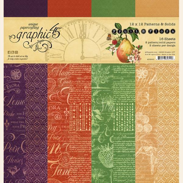Graphic 45 - Fruit & Flora 12x12 Patterns & Solids Pad