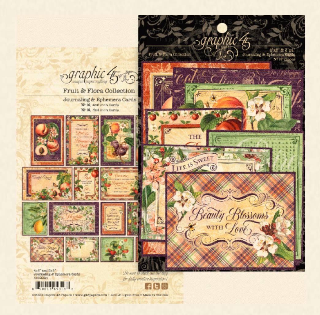 Graphic 45 - Fruit & Flora Ephemera & Journaling Cards