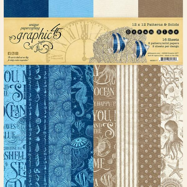 Graphic 45 - Ocean Blue 12x12 Patterns & Solids Pad