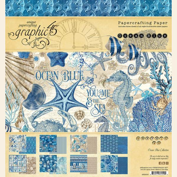 Graphic 45 - Ocean Blue 8x8 Pad