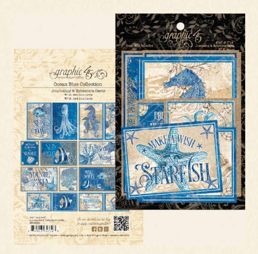 Graphic 45 - Ocean Blue Ephemera & Journaling Cards
