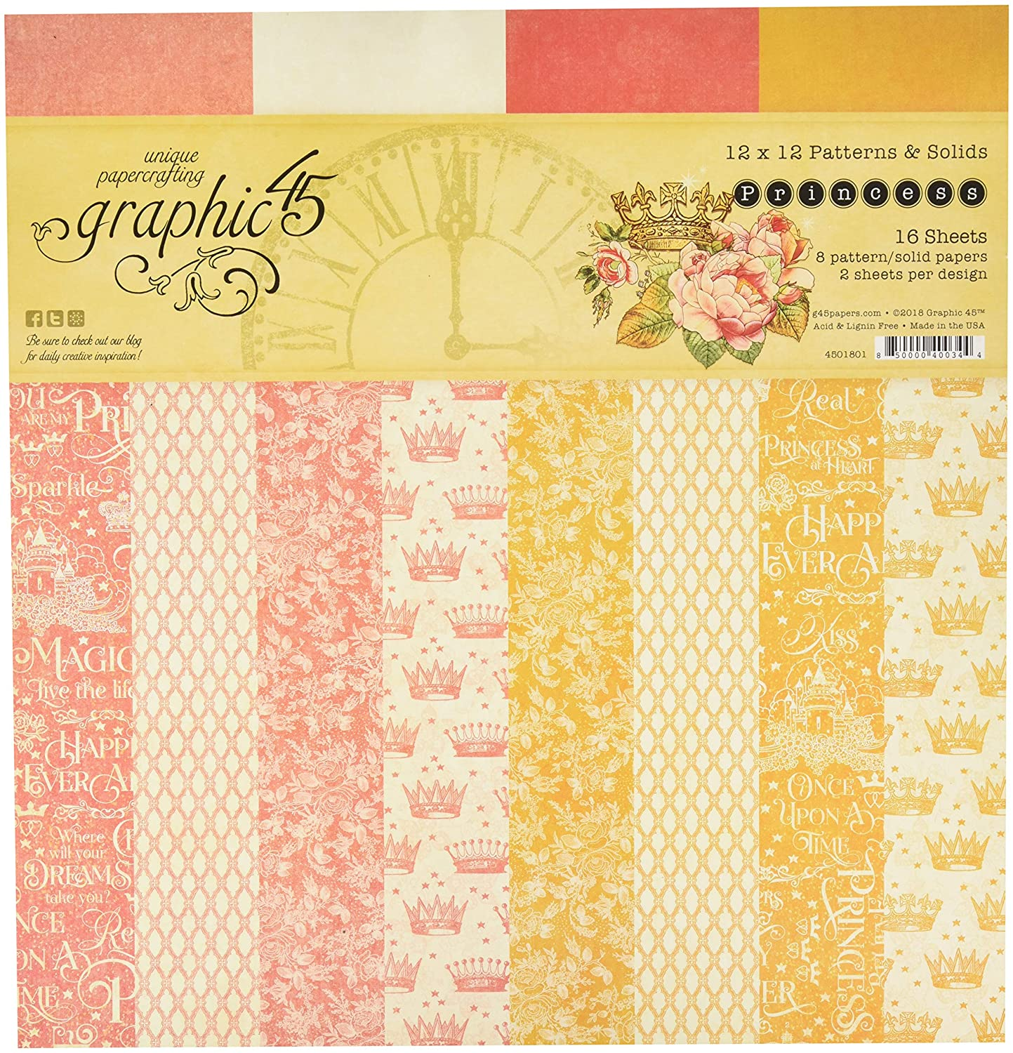 Graphic 45 - Princess 12x12 Patterns & Solids Pad (SALE!)