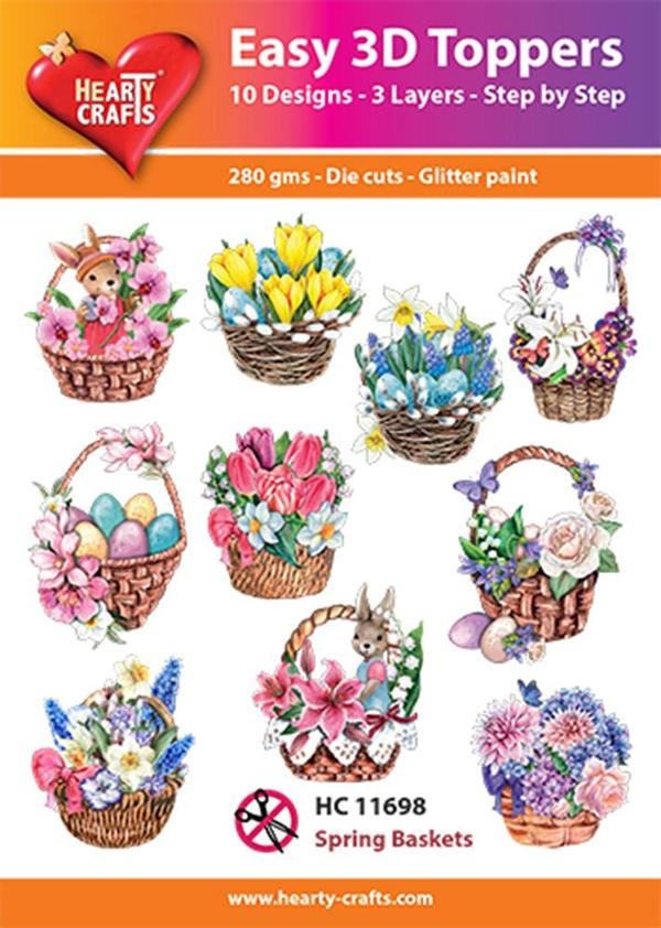 Hearty Crafts Easy 3D Toppers - Spring Baskets