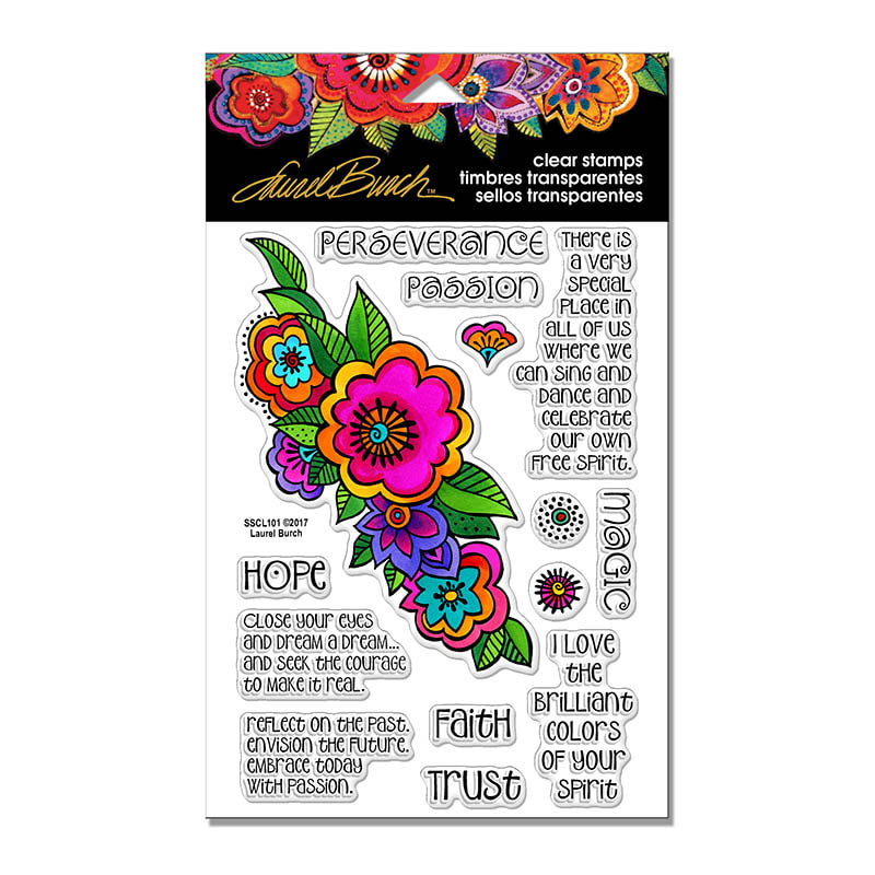 Laurel Burch - Floral Reflections Stamp Set