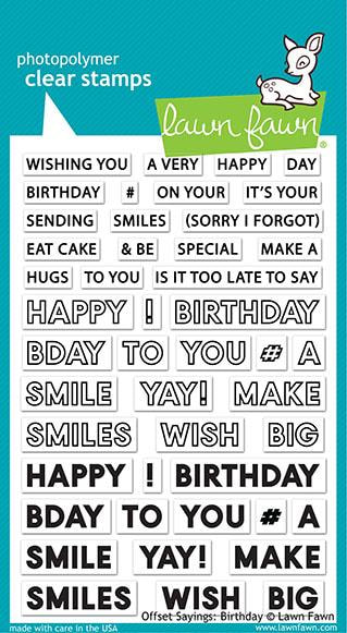 Lawn Fawn - Offset Sayings: Birthday Stamp Set