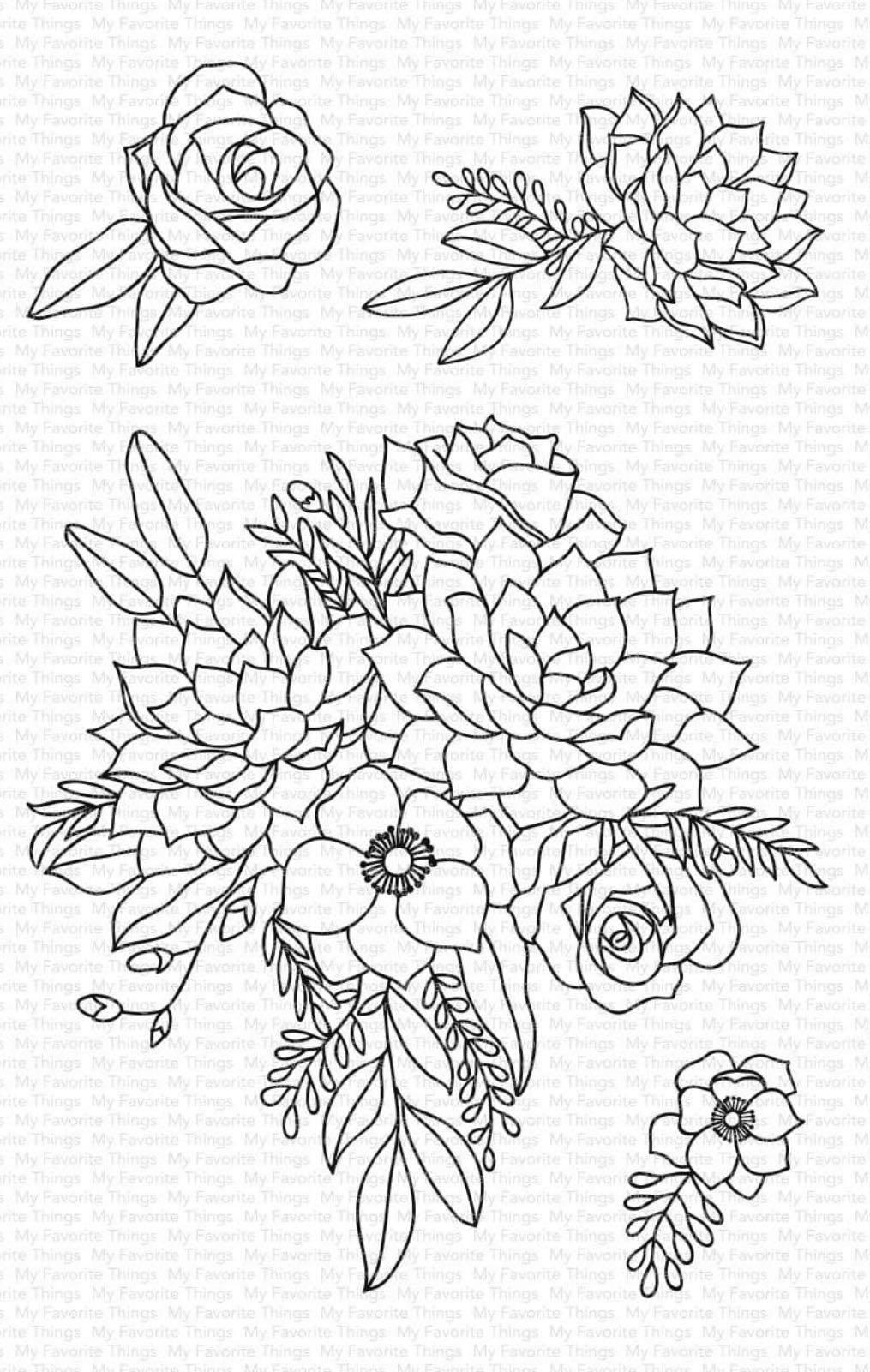 MFT - Fantasy Florals Stamp Set
