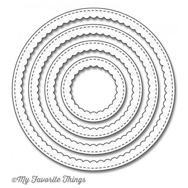 MFT - Stitched Circle Scallop Frames Dies