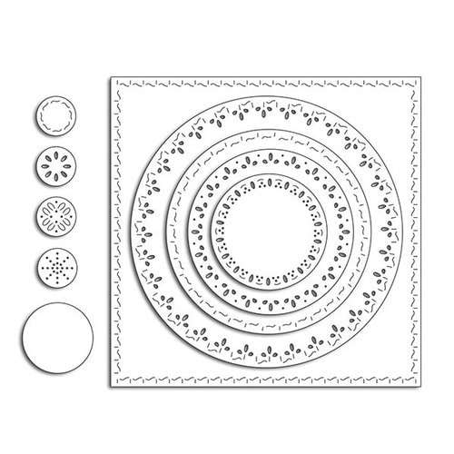 Penny Black - Stitched Square and Circles Die Set