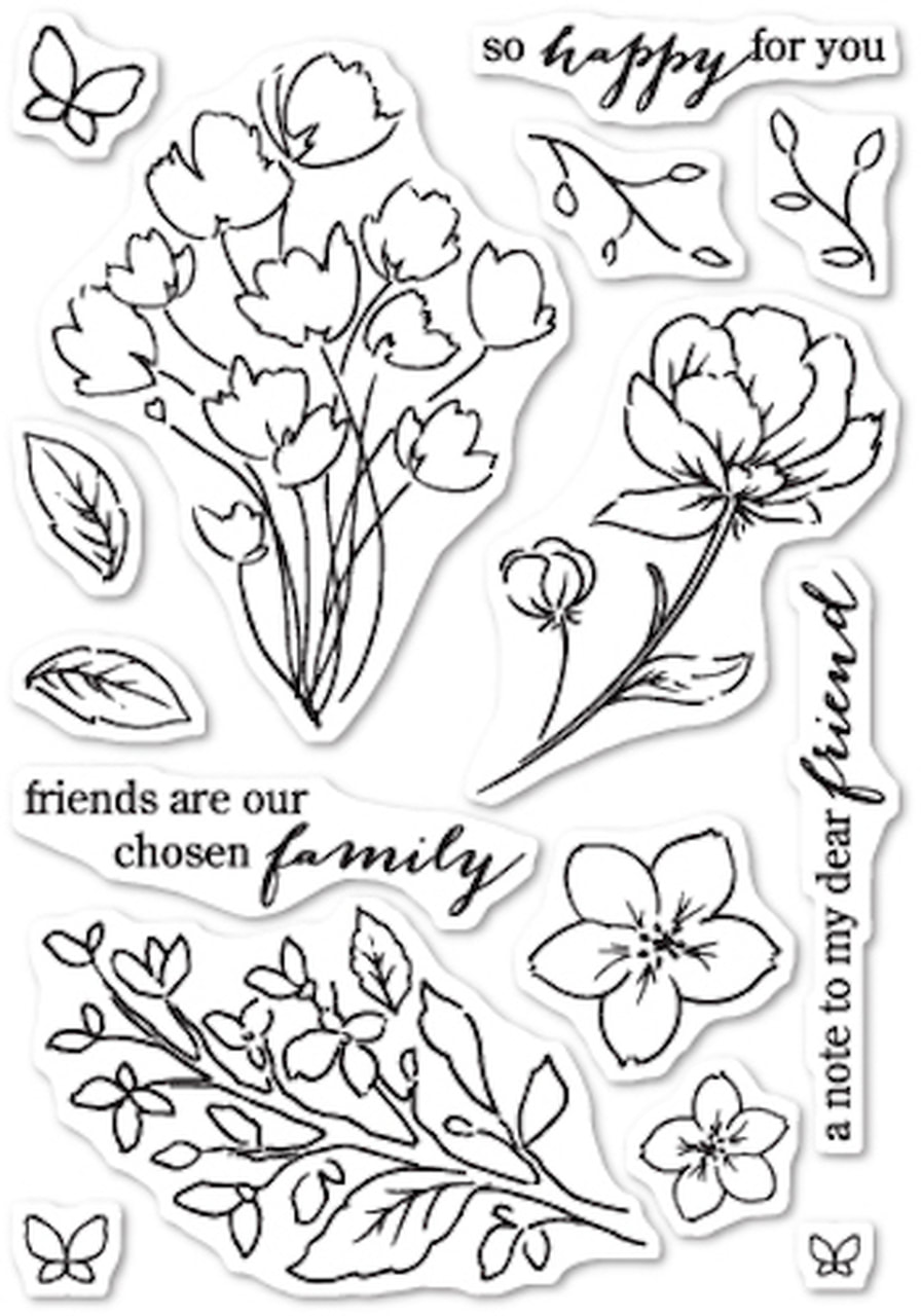 Poppy Stamps - Friends & Flowers Stamp & Die Combo