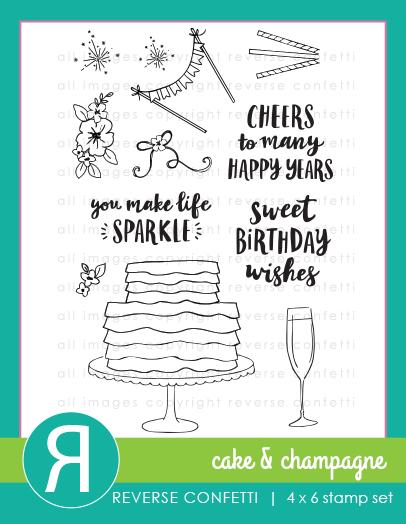 Reverse Confetti - Cake & Champagne Stamp Set
