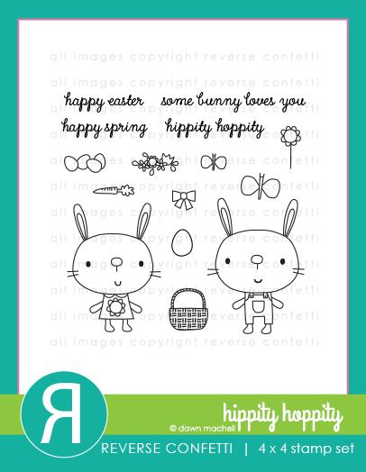 Reverse Confetti - Hippity Hoppity Stamp & Die Combo